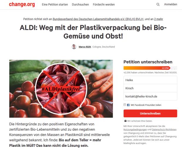 Petition Aldi Plastikfrei